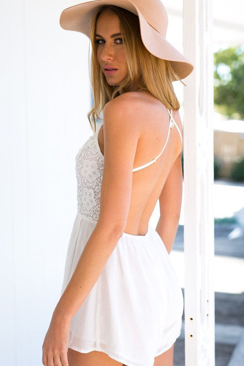 White Lace Cross Back Romper
