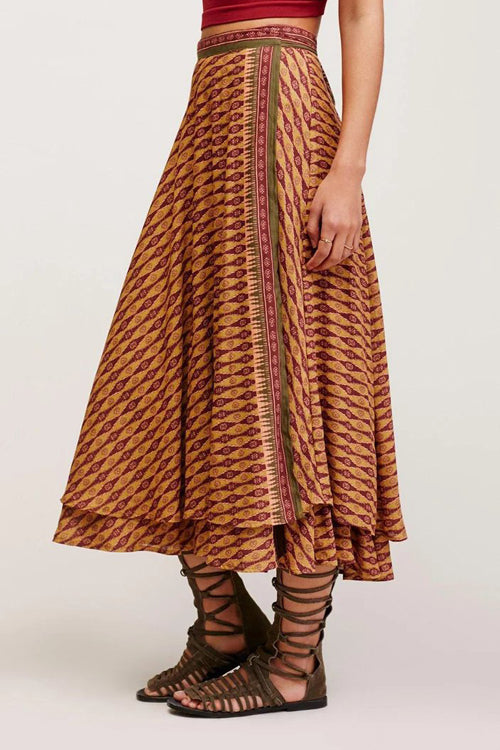 Holiday Print High-Slit Skirt