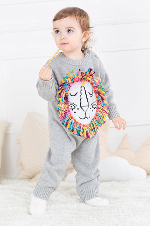 Lion Embroidered Baby Romper