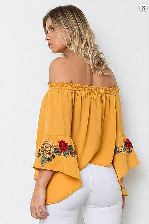 Off the Shoulder Embroidered Ruffle Blouse
