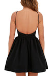 Black Spaghetti Backless Halter Neck  Mini Dress