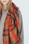 Orange Checked Cashmere Fall Scarf
