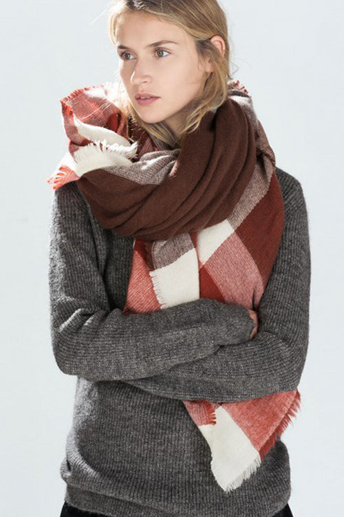 Brown Checked Cashmere Fall Scarf