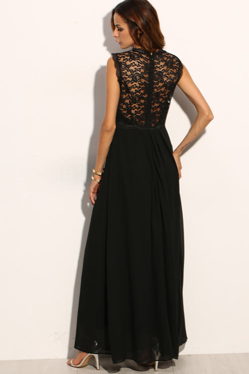Black Lace Overlay Chiffon Maxi Dress