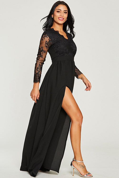 Fabulous High Side Slit Lace Maxi Dress