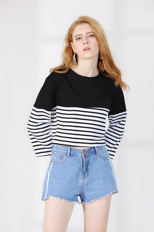Stripe Long Sleeve Blouse
