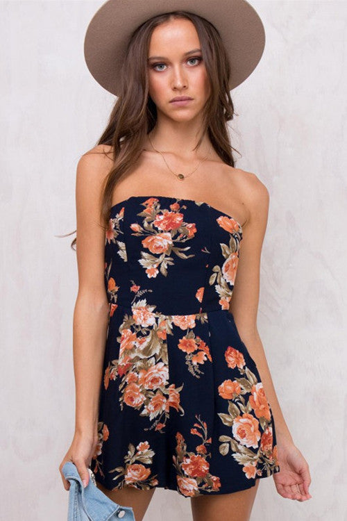 Navy Floral Print Strapless Tie-Back Jumpsuit