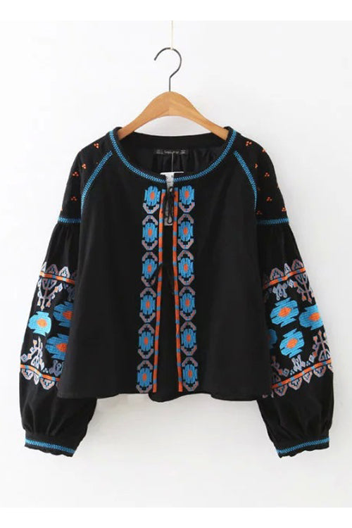 Black Ethnic Embroidered Coat