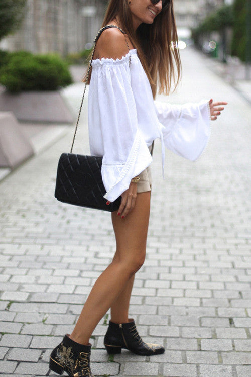 Ruffle Neckline Off the Shoulder Blouse