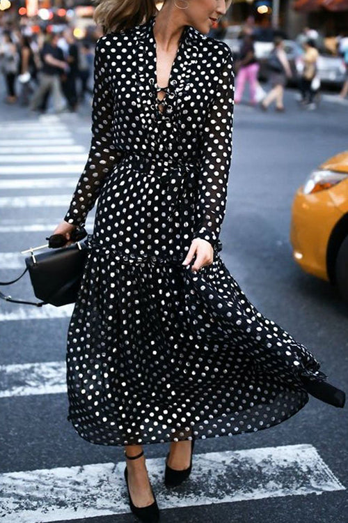 Make Me Move Black Polka Dot Maxi Dress