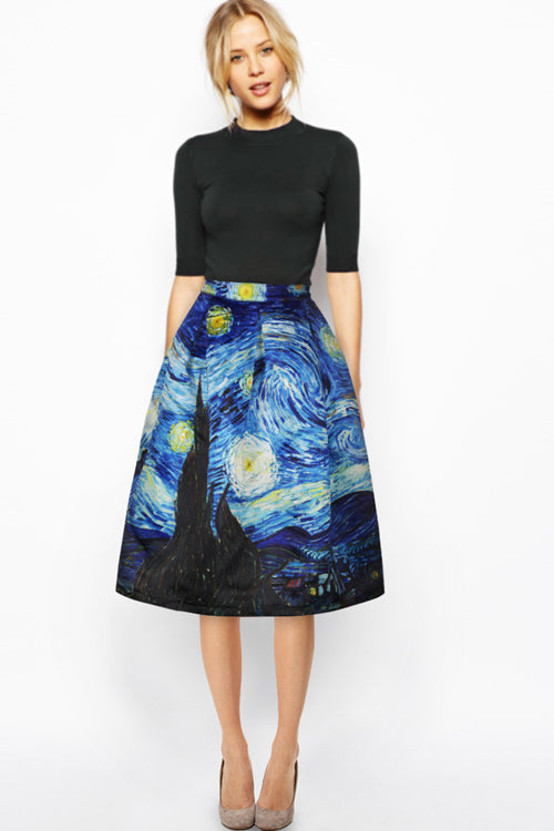 Van Gogh Starry Sky Art  Skirt