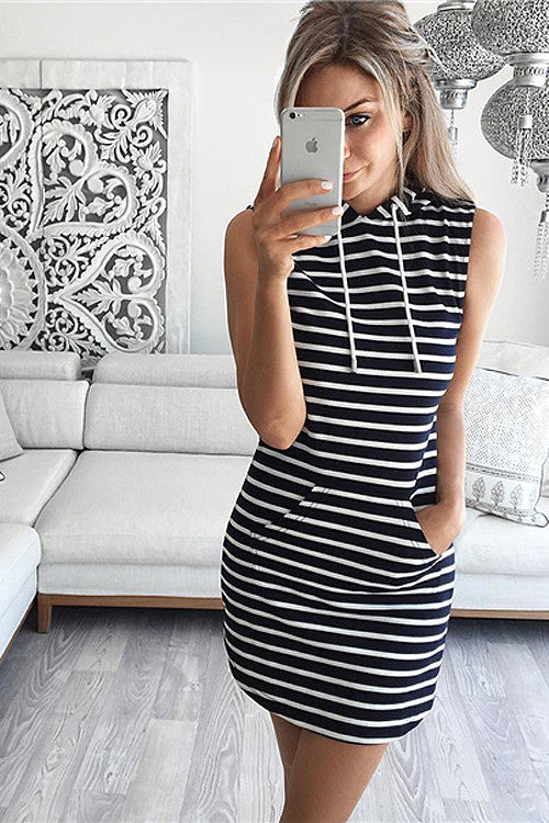 Stripe Sleeveless Hooded Stretch Mini Dress