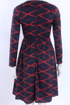 Red Print Round Neck Long Sleeved Dress