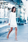 White A Shape Hollow Rivet Dress