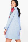Applique Long Sleeve Shirt Dress