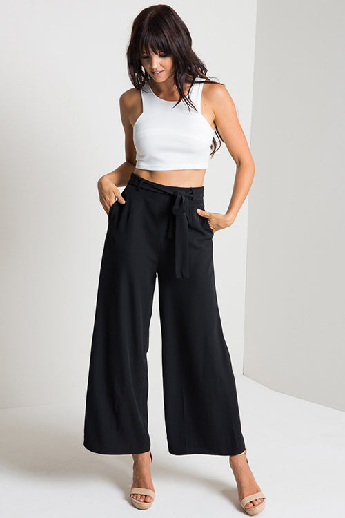 Pure Color Tie Waist Loose Pants