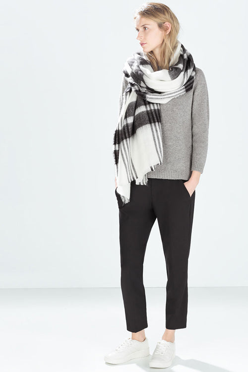 Black&White Checked Cashmere Fall Scarf