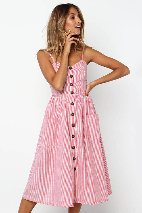 Button-up Pocket Midi Dress