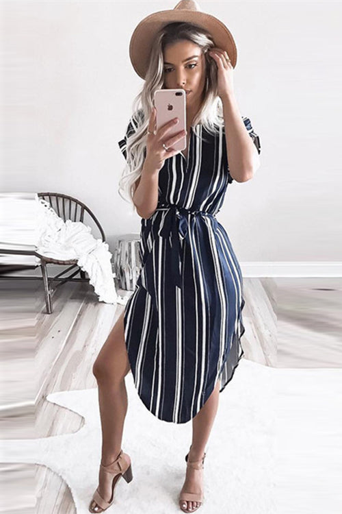Navy Blue Stripe Waist Midi Dress