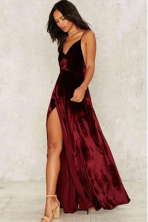 Wine Red Pleuche Spaghetti Slip Dress