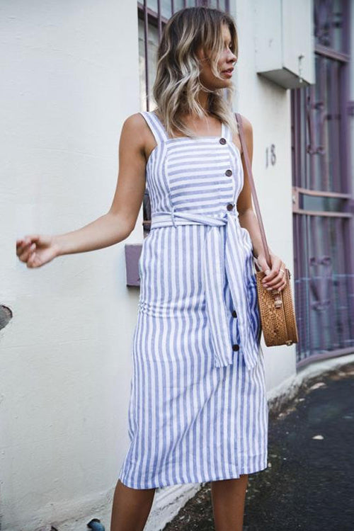Saturday Joy Stripe Tie Midi Dress
