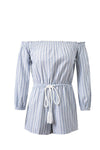 White&Blue Stripe Off Shoulder Drawstring Jumpsuit