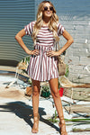 Stripe Short Sleeve Mini Dress