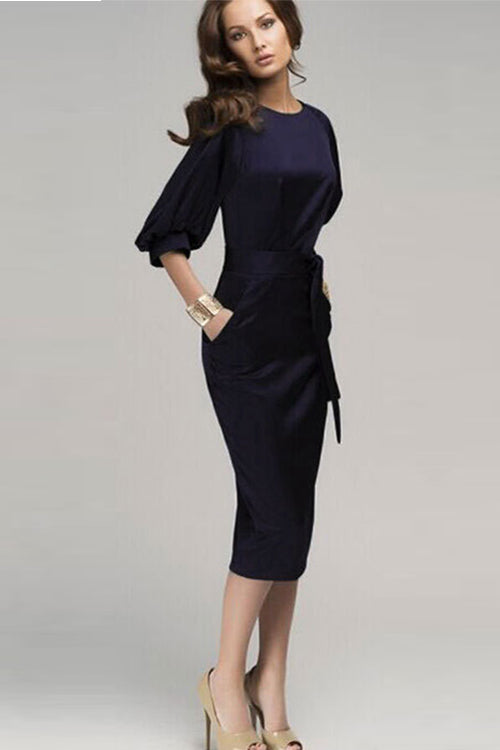 Long Navy Blue Puff Sleeve Dress