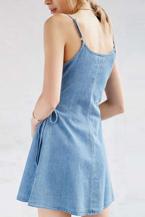 Spaghetti Convertible V-neck Denim Mini Dress