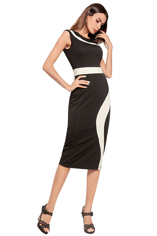 Crew Neck Sleeveless Slim Midi Dress