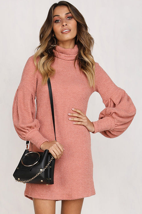 Puff Vibes High Neck Mini Dress