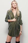Velvet Vibes Button Down Shirt Dress