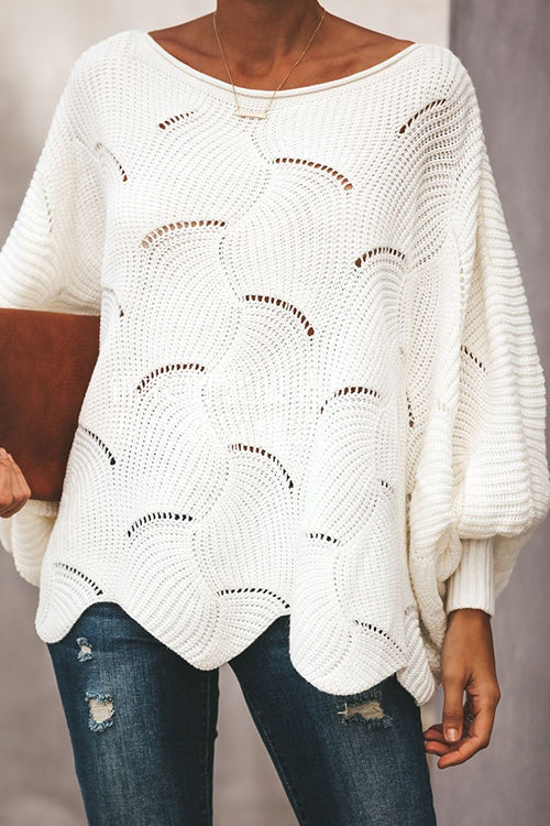 Hollow Out Puff Sleeve Sweater