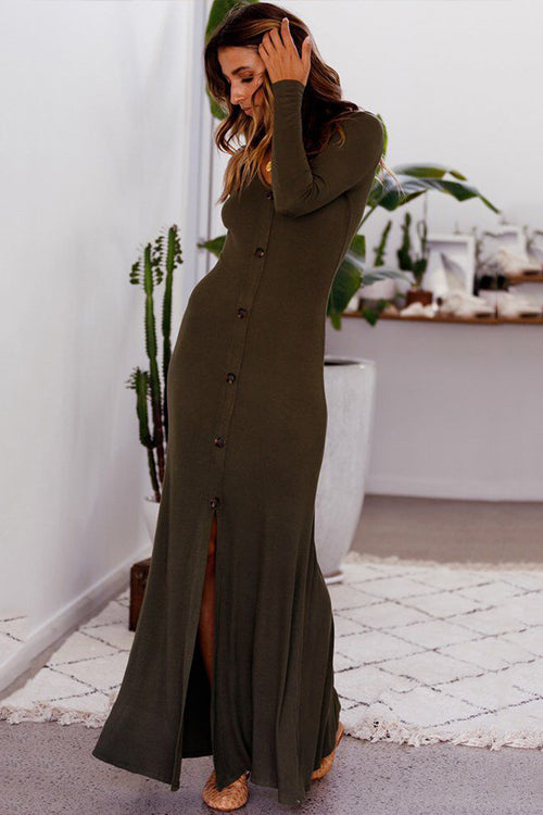 Cozy Delight Button Down Maxi Dress