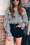 Off the Shoulder Stripe Shirt