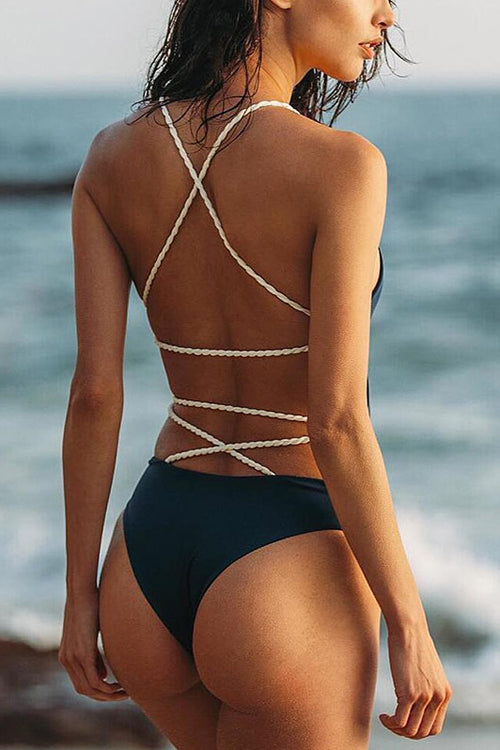 Cross Back Pure Color Swimsuit