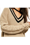 V-Neck Striped Oversize Sweater