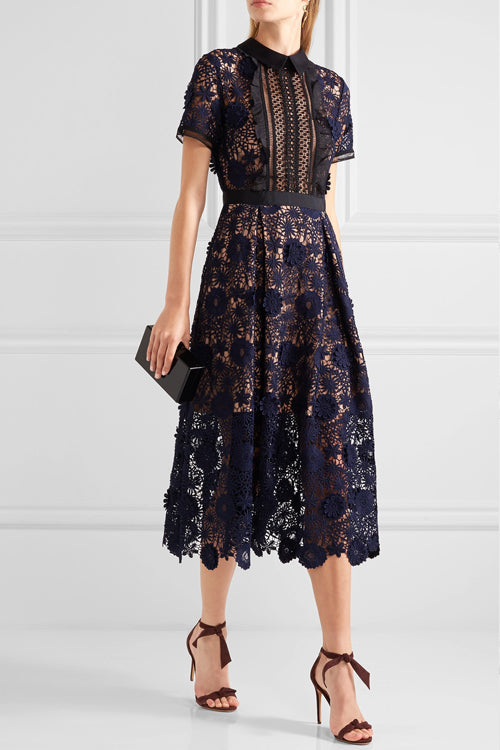 Stereo Flowers Hollow-out Midi Dress