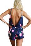 Floral Print Backless Slip Jumpsuit