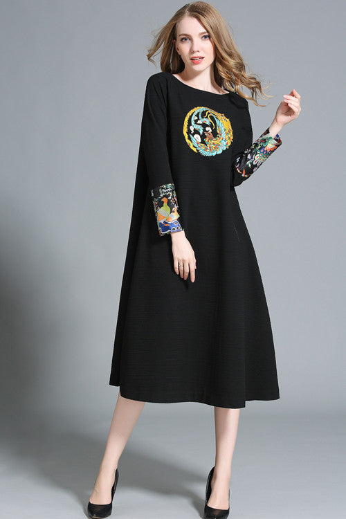 Embroidered Long Sleeve A-line Midi Dress
