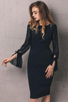 Black High Waist See Through Sleeve Midi Dress
