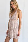 Spaghetti Sequin Tie-back Mini Dress