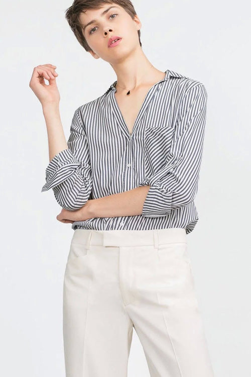 Casual Striped Shirt with One Pocket