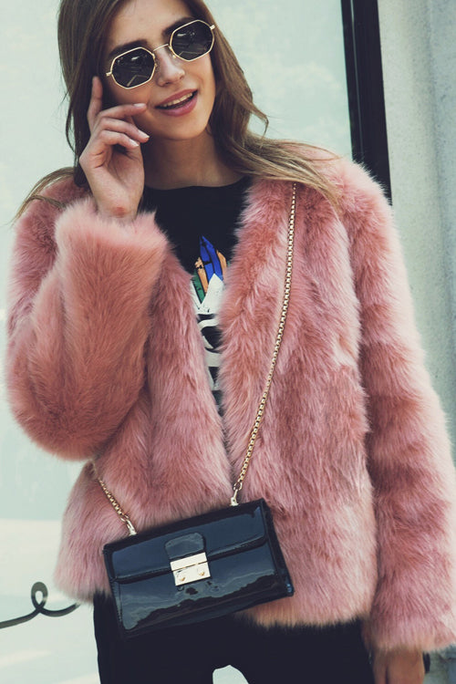 Short Pure Color Artificial Fur Coat