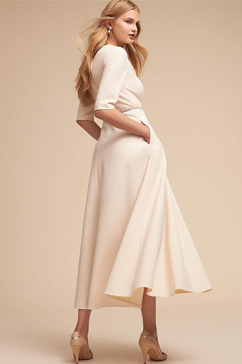 White Plunging-Neck Half Sleeve Maxi Dress