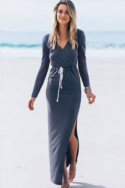 Wrap Long/Short Sleeve Maxi Dress