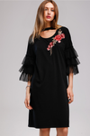 Black Rose Embroidery Tulle Spliced Dress