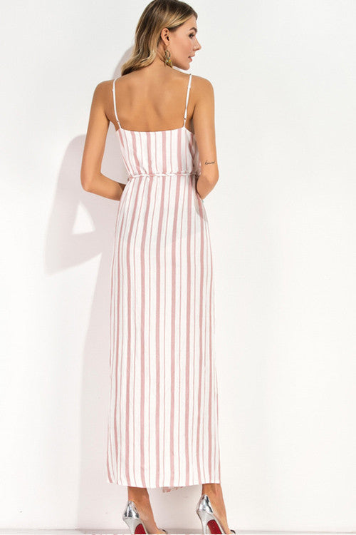 Pink and White Stripe Wrap Slip Dress