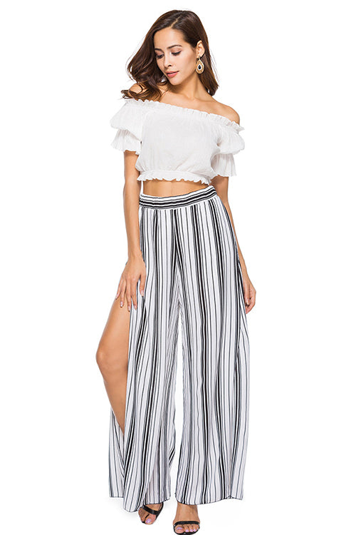 Oversize Side Slit Chiffon Pants