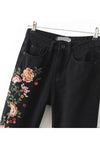 Floral Embroidery Straight Jeans